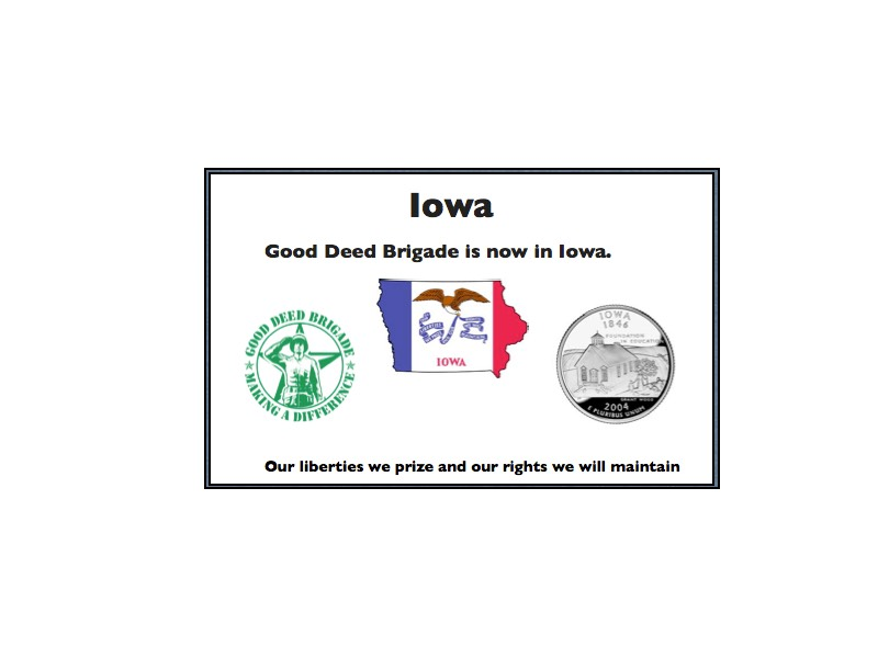Good Deed Brigade State Postcard - Iowa