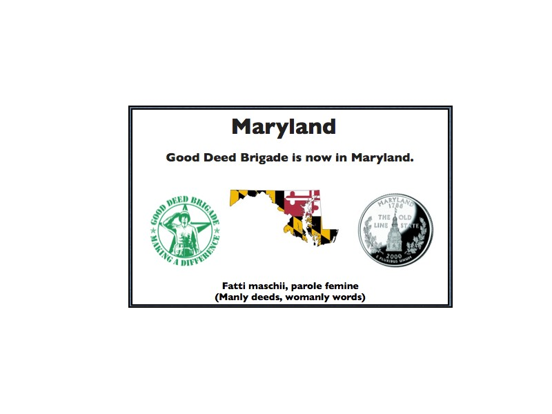 Good Deed Brigade State Postcard - Maryland